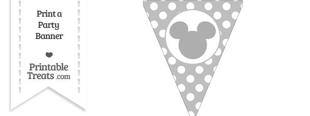 Pastel Light Grey Polka Dot Pennant Flag with Mickey Mouse