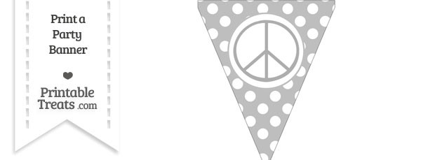 Pastel Light Grey Polka Dot Pennant Flag with Peace Sign