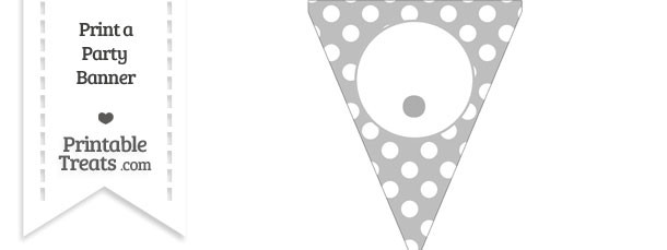 Pastel Light Grey Polka Dot Pennant Flag with Period