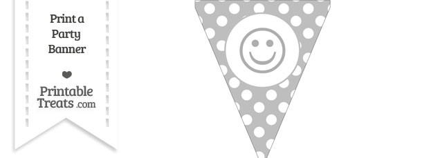 Pastel Light Grey Polka Dot Pennant Flag with Smiley Face