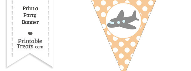 Pastel Light Orange Polka Dot Pennant Flag with Airplane Facing Left Download