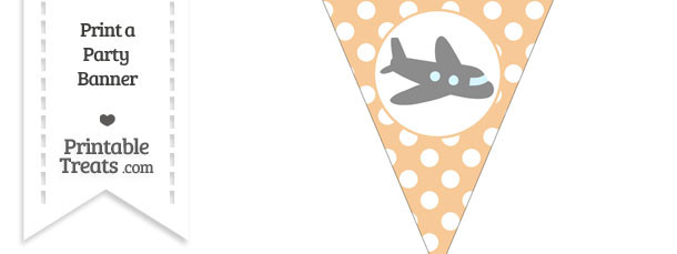 Pastel Light Orange Polka Dot Pennant Flag with Airplane Facing Right Download