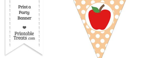 Pastel Light Orange Polka Dot Pennant Flag with Apple Download