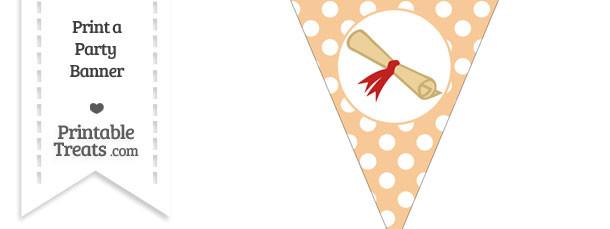 Pastel Light Orange Polka Dot Pennant Flag with Diploma Download