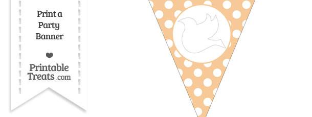 Pastel Light Orange Polka Dot Pennant Flag with Dove Facing Left Download