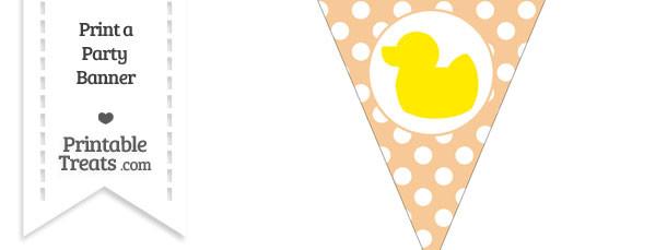 Pastel Light Orange Polka Dot Pennant Flag with Duck Facing Left Download
