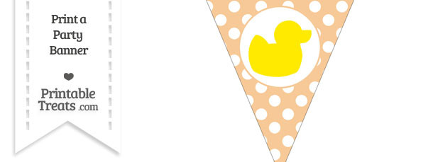 Pastel Light Orange Polka Dot Pennant Flag with Duck Facing Right Download