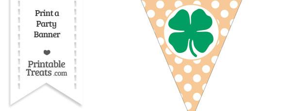 Pastel Light Orange Polka Dot Pennant Flag with Four Leaf Clover Facing Left Download