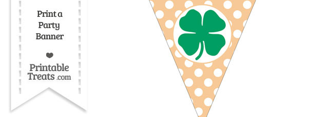 Pastel Light Orange Polka Dot Pennant Flag with Four Leaf Clover Facing Right Download