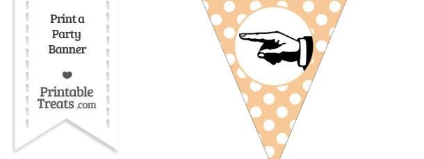 Pastel Light Orange Polka Dot Pennant Flag with Hand Pointing Left Download