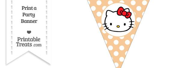 Pastel Light Orange Polka Dot Pennant Flag with Hello Kitty Download