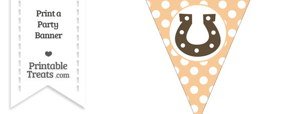 Pastel Light Orange Polka Dot Pennant Flag with Horseshoe Download