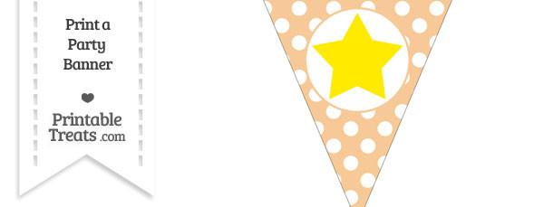 Pastel Light Orange Polka Dot Pennant Flag with Star Download