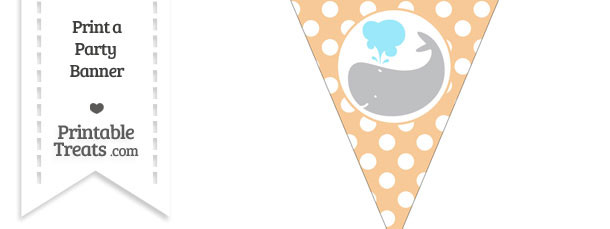Pastel Light Orange Polka Dot Pennant Flag with Whale Facing Left Download