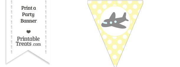 Pastel Light Yellow Polka Dot Pennant Flag with Airplane Facing Left Download