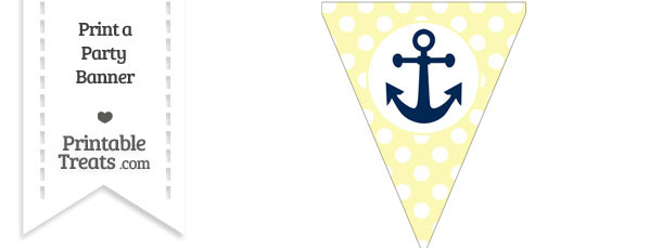 Pastel Light Yellow Polka Dot Pennant Flag with Anchor Download