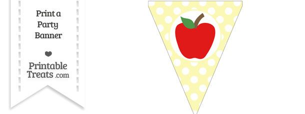Pastel Light Yellow Polka Dot Pennant Flag with Apple Download