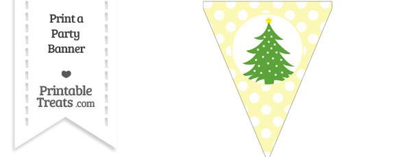 Pastel Light Yellow Polka Dot Pennant Flag with Christmas Tree Download