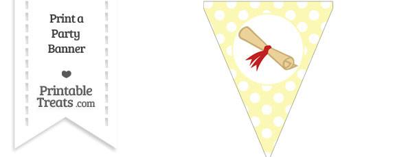 Pastel Light Yellow Polka Dot Pennant Flag with Diploma Download