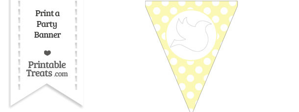 Pastel Light Yellow Polka Dot Pennant Flag with Dove Facing Right Download