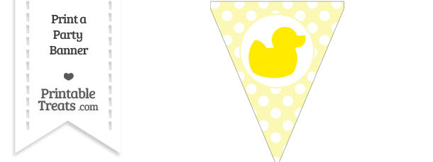 Pastel Light Yellow Polka Dot Pennant Flag with Duck Facing Right Download