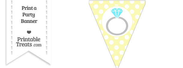 Pastel Light Yellow Polka Dot Pennant Flag with Engagement Ring Download