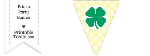 Pastel Light Yellow Polka Dot Pennant Flag with Four Leaf Clover Facing Left Download