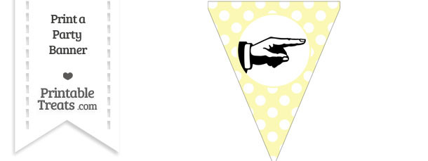 Pastel Light Yellow Polka Dot Pennant Flag with Hand Pointing Right Download