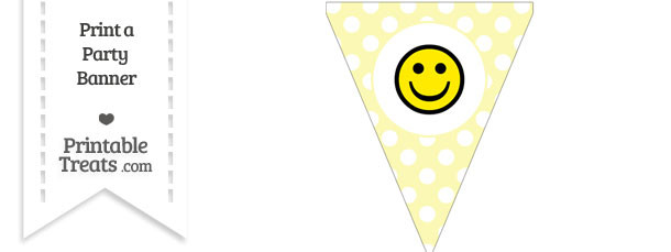 Pastel Light Yellow Polka Dot Pennant Flag with Smiley Face Download