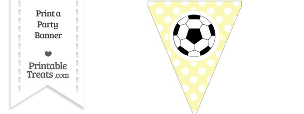 Pastel Light Yellow Polka Dot Pennant Flag with Soccer Ball Download