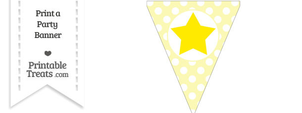 Pastel Light Yellow Polka Dot Pennant Flag with Star Download