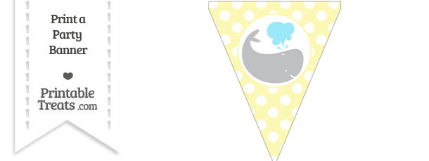 Pastel Light Yellow Polka Dot Pennant Flag with Whale Facing Right Download