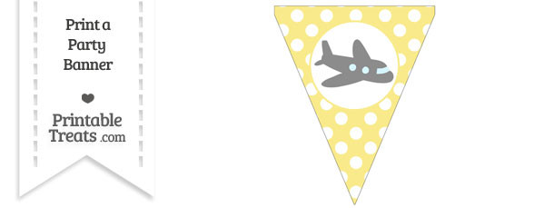 Pastel Yellow Polka Dot Pennant Flag with Airplane Facing Right Download