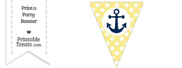 Pastel Yellow Polka Dot Pennant Flag with Anchor Download