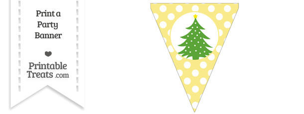 Pastel Yellow Polka Dot Pennant Flag with Christmas Tree Download