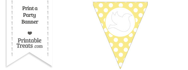 Pastel Yellow Polka Dot Pennant Flag with Dove Facing Right Download