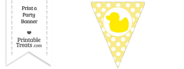 Pastel Yellow Polka Dot Pennant Flag with Duck Facing Left Download