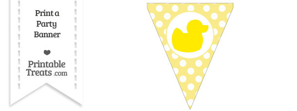 Pastel Yellow Polka Dot Pennant Flag with Duck Facing Right Download