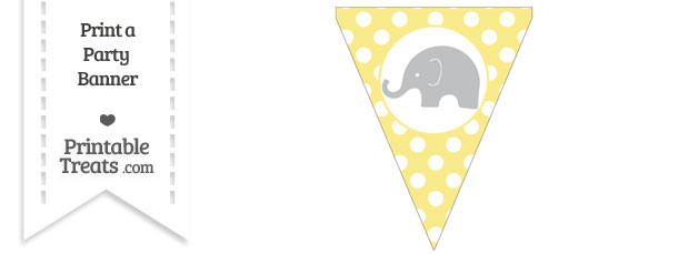 Pastel Yellow Polka Dot Pennant Flag with Elephant Facing Left Download