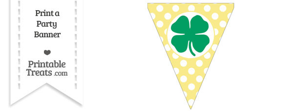 Pastel Yellow Polka Dot Pennant Flag with Four Leaf Clover Facing Left Download
