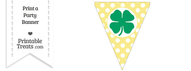 Pastel Yellow Polka Dot Pennant Flag with Four Leaf Clover Facing Right Download