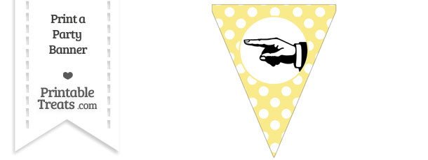 Pastel Yellow Polka Dot Pennant Flag with Hand Pointing Left Download
