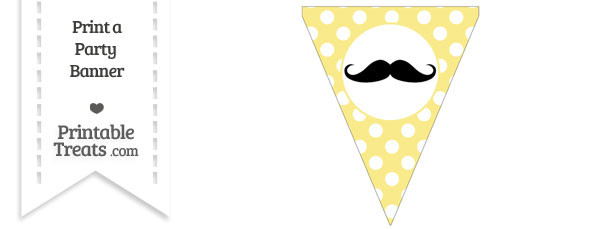 Pastel Yellow Polka Dot Pennant Flag with Handlebar Moustache Download