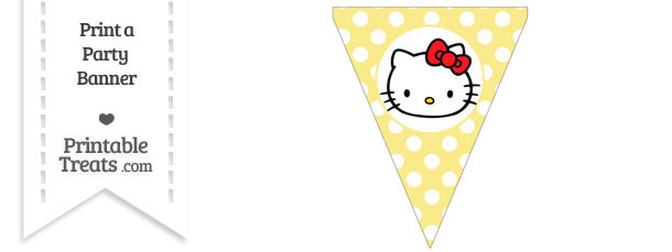 Pastel Yellow Polka Dot Pennant Flag with Hello Kitty Download
