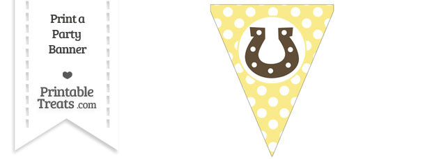 Pastel Yellow Polka Dot Pennant Flag with Horseshoe Download