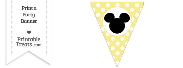 Pastel Yellow Polka Dot Pennant Flag with Mickey Mouse Download