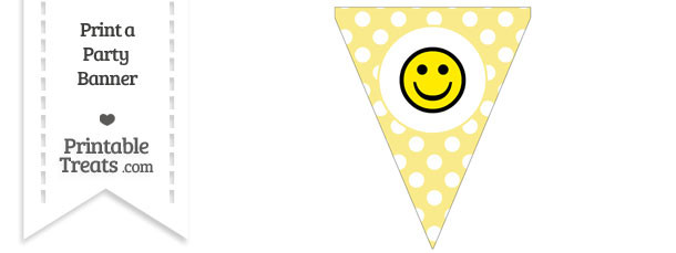 Pastel Yellow Polka Dot Pennant Flag with Smiley Face Download