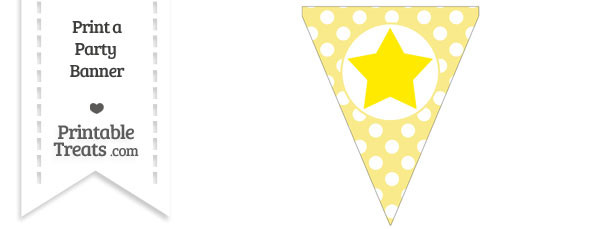 Pastel Yellow Polka Dot Pennant Flag with Star Download