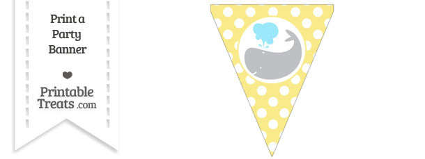 Pastel Yellow Polka Dot Pennant Flag with Whale Facing Left Download