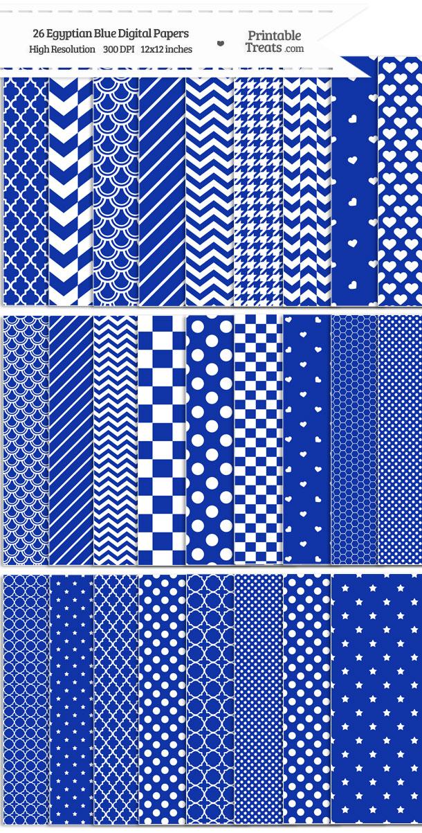 26 Egyptian Blue Digital Paper Set Download from PrintableTreats.com